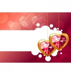 two hanging hearts vector image vector image