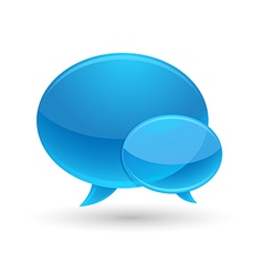 Blue Glass Speech Bubbles Icon vector image vector image