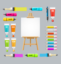 board easel blank empty and painting accessories vector image