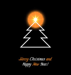 christmas and new year banner with fir tree vector image