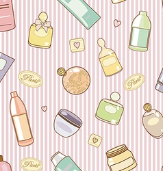 cosmetics on pink pattern vector image vector image