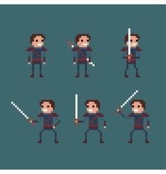 pixel art fantasy kingdom swordsman warrior vector image vector image