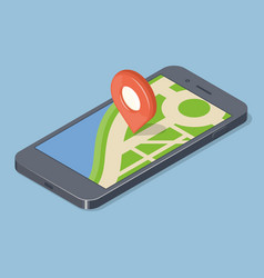 red pointer on smartphone map gps navigation vector image