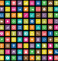 100 big data database icons set vector image