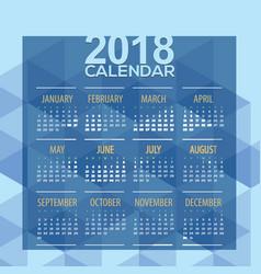 2018 blue geometric printable calendar vector