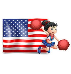 A cheerer and the USA flag vector image