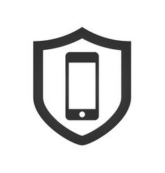 A shield icon with a smartphone vector