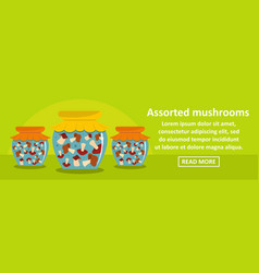assorted mushrooms banner horizontal concept vector image