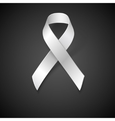 Awareness white ribbon vector