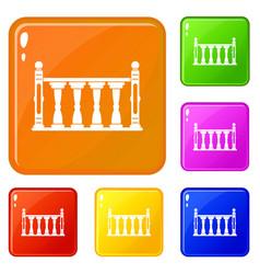 Balustrade icons set color vector