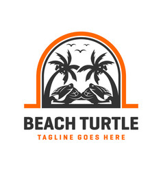 beach turtle logo design template vector image