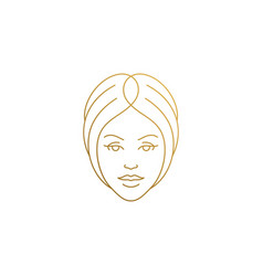 beautiful female face logo hand drawn with thin vector image