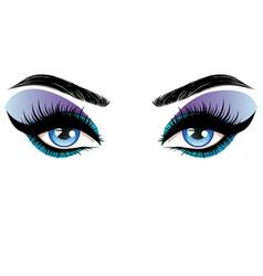 blue eyes make up vector image