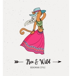 Bohemian fashion girl cat boho style vector