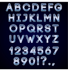 Bold chrome and blue neon alphabet letters on dark vector