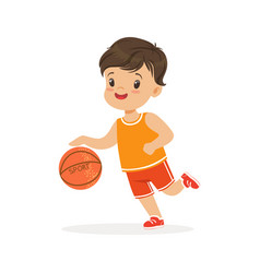 boy playing basketball player is moving dribble vector image