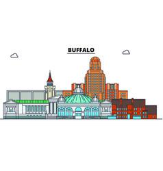 buffalo united states flat landmarks vector image
