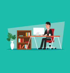 businessman working on computer in open space vector image