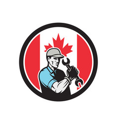 canadian mechanic canada flag icon vector image