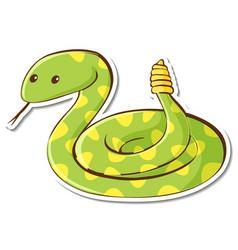 Cartoon character green rattle snake sticker vector