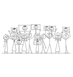Cartoon drawing of group of people demonstrating vector