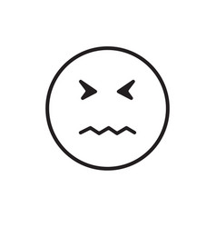 cartoon face sad negative people emotion icon vector image