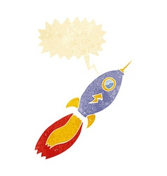 cartoon rocket with speech bubble vector image