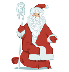 Cartoon santa claus with magic staff and gift bag vector