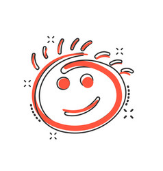 cartoon simple smile icon in comic style hand vector image