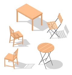 Chair table set vector