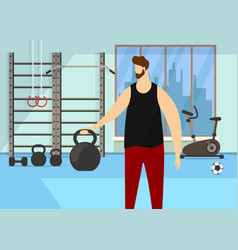 character practicing exercise with dumbbell in gym vector image