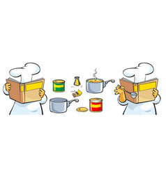 Chef preparing soup and reading recipe cookbook vector