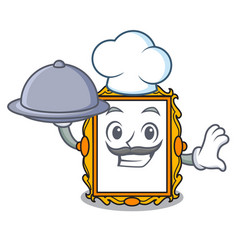 chef with food picture frame mascot cartoon vector image