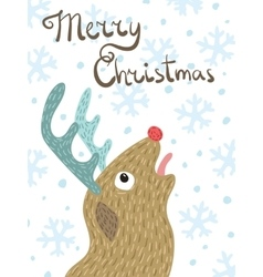 Christmas card Cartoon reindeer Rudolph vector image