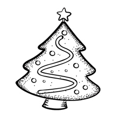 christmas tree doodle vector image