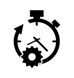 Clock with arrow and gear icon vector