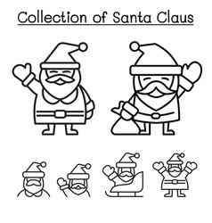 collection of christmas santa claus in thin line vector image
