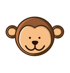 Colorful picture face cute monkey animal vector