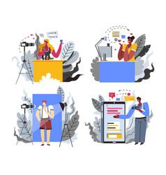 content maker or internet blogger profession or vector image