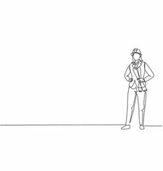 Continuous one line drawing young female vector