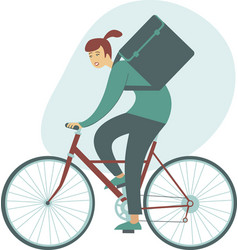 courier bicycle delivery girl with parcel box vector image
