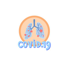 covid-19 icon - human lungs affected virus vector image