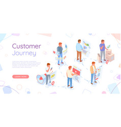 Customer journey website with people and screens vector