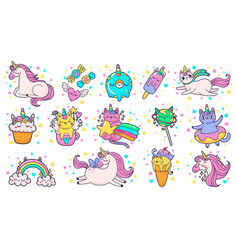 cute hand drawn patches magic fairytale pony vector image