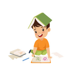 Cute naughty boy ripping pages of book and writing vector