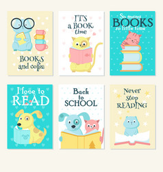 cute pet animals reading books card set vector image