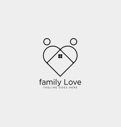 Dating love home line logo template icon element vector