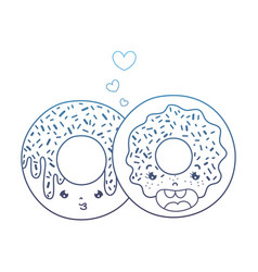 Degraded line kawaii nice sweet donut couple vector