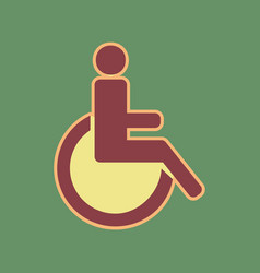 Disabled sign cordovan icon vector