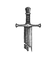 Dotwork broken sword vector